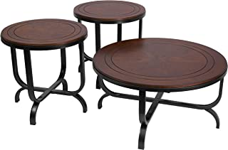 Signature Design by Ashley - Ferlin Circular Occasional Table Set - Includes Table & 2 End Tables, Dark Brown