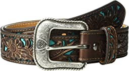 Floral Embossed Turquoise Underlay Belt