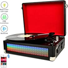 DIGITNOW Bluetooth Multi-Color LED Record Player for Vinly Records with Built-in Dual Stereo Speakers,Vinyl to mp3 Recording,LP 3-Speed Belt Driven Turntable,Aux Input & RCA Output.