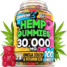 CANNAVIBE Hemp Gummies - 30000MG of Hemp Oil in 100 Sweets - Made in USA - Anxiety & Stress Relief - 100% Natural & Safe Gummies - Tasty & Relaxing - Mood Boost & Insomnia Relief - Omega 3, 6, 9