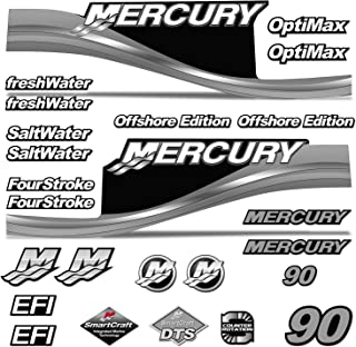 AMR Racing Outboard Engine Motor Sticker Decal Graphics kit for Mercury 90 - Silver