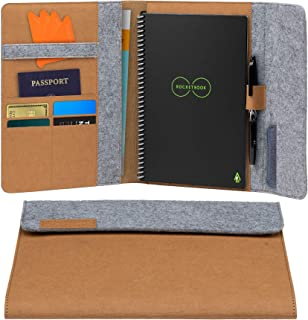 """Rocketbook Smart Notebook Folio Cover - 100% Recyclable, Biodegradable Cover with Pen Holder, Magnetic Clasp & Inner Storage - Mars Sand Tan, Executive Size (6"""" x 8.8"""")"""
