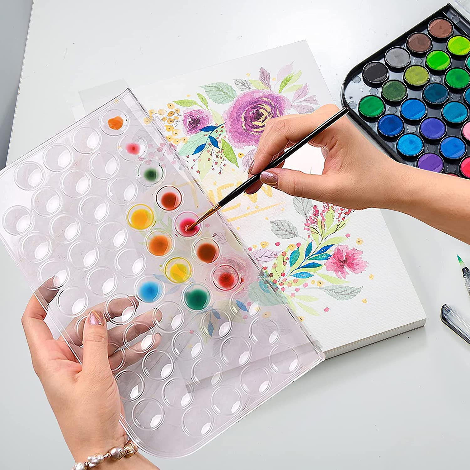THEAN Watercolor Paint 20 Color Watercolor Paint Set for Kids, Adults,  Beginners and Artists with Palette, Painting Brush and Refillable Water  Brush ...