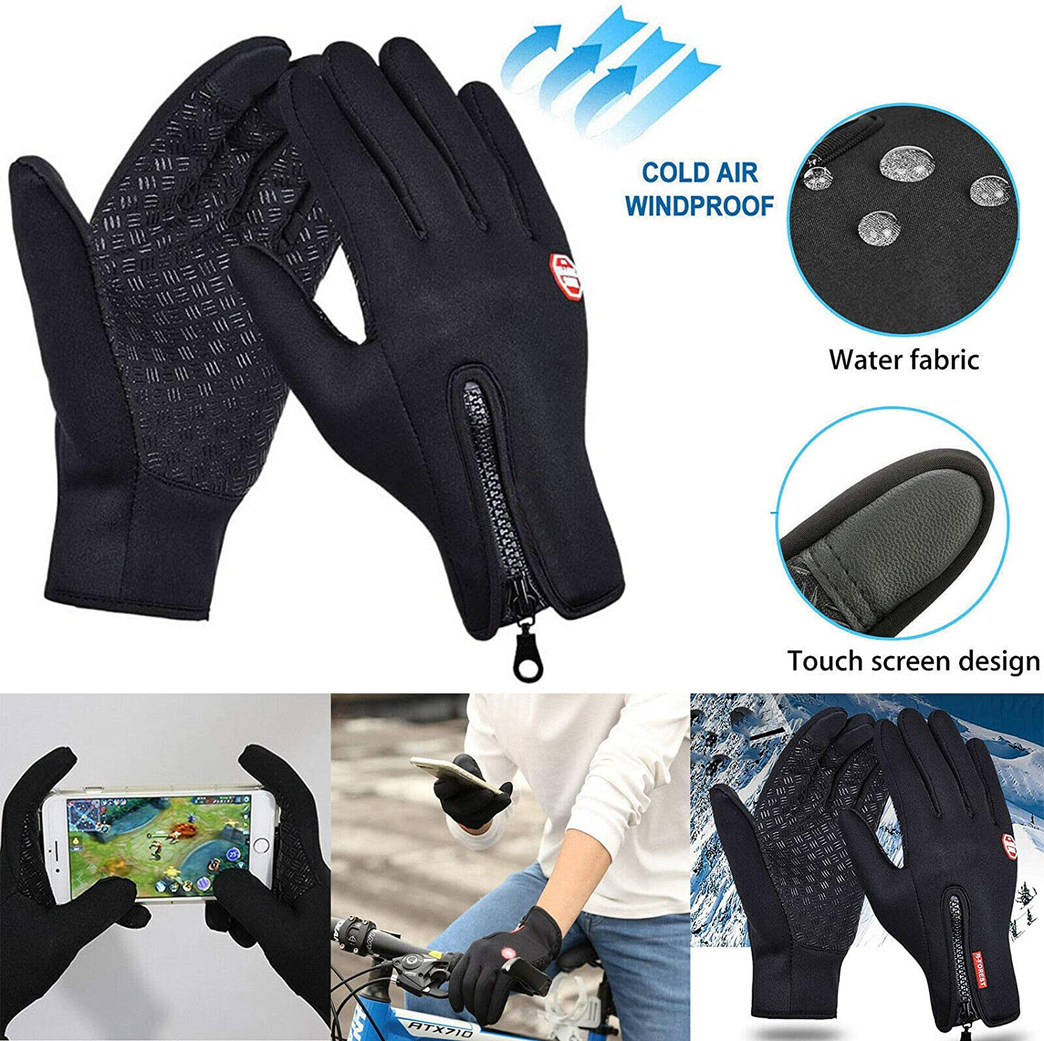 Mens Winter Sports Warm Gloves Windproof Waterproof Thermal Touch Screen Mittens Black
