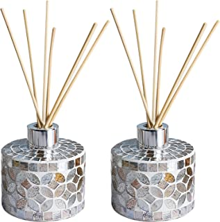 Whole Housewares 6 Ounce Mosaic Glass Diffuser Bottles with 10pcs Natural Reed Sticks, Silver Caps and Bottle Size:3.15X3.15 inch, Set of 2