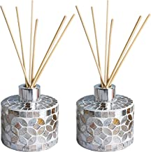 Whole Housewares 6 Ounce Mosaic Glass Diffuser Bottles with 10pcs Natural Reed Sticks, Silver Caps and Bottle Size:3.15X3....