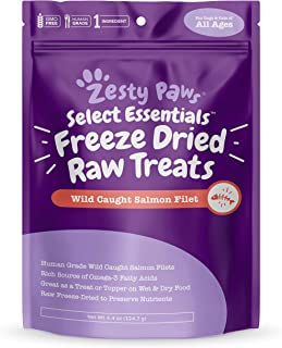 Zesty Paws Freeze Dried Salmon Filet Treats for Dogs & Cats - with Pure Raw & Wild Caught Pacific Sockeye Salmon Fish - Omega 3 EPA + DHA Fatty Acids for Joint & Immune Support + Skin & Coat Health