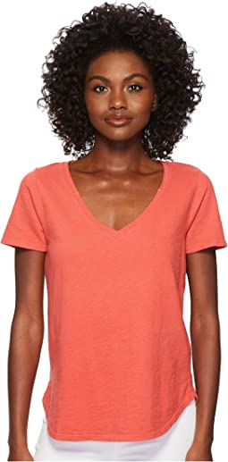 Three Dots - Sueded Slub Knit V-Neck Tee