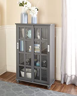 The Lakeside Collection Sliding Door Media Cabinet - Bookcase for Living Rooms, Entryways - Gray