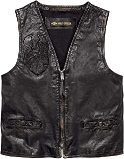Men's Iron Distressed Slim Fit Leather Vest, Black