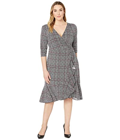Kiyonna Flirty Flounce Wrap Dress (Houndstooth Plaid) Women