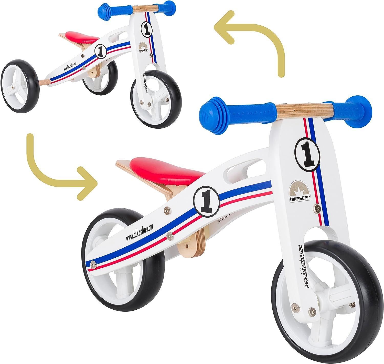 Compra calidad 100% autentica BIKEEstrella - Bicicleta de Equilibrio de Madera para Niños Niños Niños de 18 Meses de Edad, 7 Pulgadas, Converdeible, Mini 2 en 1, Bicicleta y Triciclo, Color blancoo, Azul y Rojo  disfruta ahorrando 30-50% de descuento