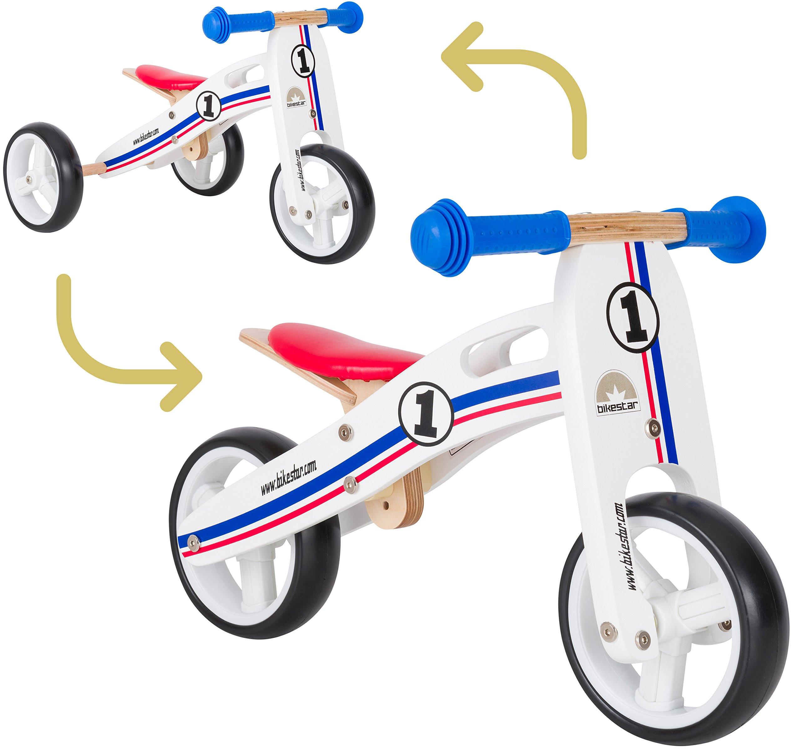 BIKESTAR Bicicleta de Equilibrio de Madera para niños de 18 Meses | 7 Pulgadas Convertible Mini 2 en 1 Bicicleta y Triciclo | Blanco Azul Rojo: Amazon.es: Juguetes y juegos