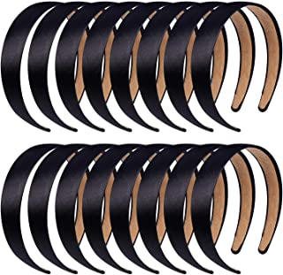 Anezus 16 Pcs Satin Headbands 1 Inch Anti-slip Black Ribbon Hair Bands for Women Girls DIY Craft Hair Accessories