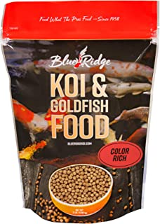 Blue Ridge Fish Food Pellets, Koi and Goldfish Color Rich Formula, Floating 3/16