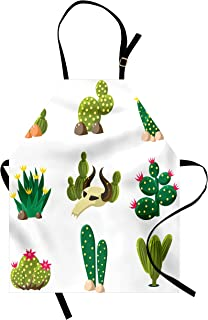Ambesonne Cactus Apron, Mexican South Desert with Animals Cactus Plants Skeletons Flowers Cartoon Image, Unisex Kitchen Bib with Adjustable Neck for Cooking Gardening, Adult Size, Fern Green