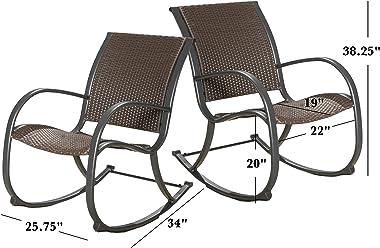 Christopher Knight Home Gracie'S KD Rocking Chair Set, 2-Pcs Set, Dark Brown