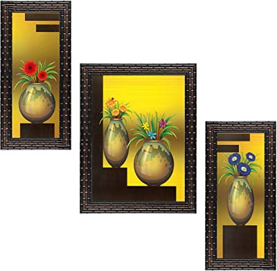 Indianara Set of 3 Flowers in Vases Framed Art Painting (1403GB) without glass 6 X 13, 10.2 X 13, 6 X 13 INCH
