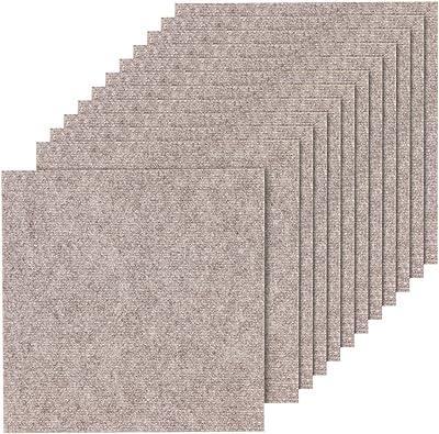山五 滑り止め 吸着加工 洗えるカーペット 薄手 ベージュ色 12枚入り 35×35cm