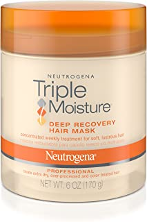 Neutrogena Triple Moisture Deep Recovery Hair Mask Moisturizer for Extra Dry Hair, Damaged & Over-Processed Hair, Hydrating Hair Treatment with Olive, Meadowfoam & Sweet Almond, 6 oz