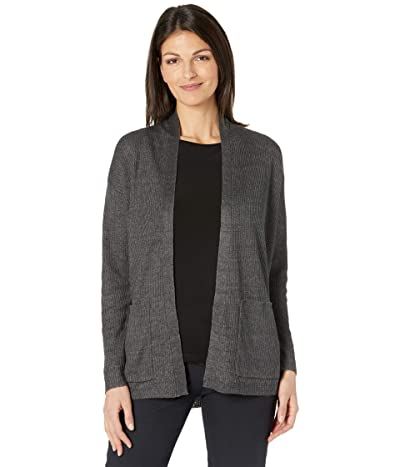 Eileen Fisher Organic Linen Delave High Collar Cardigan (Slate) Women