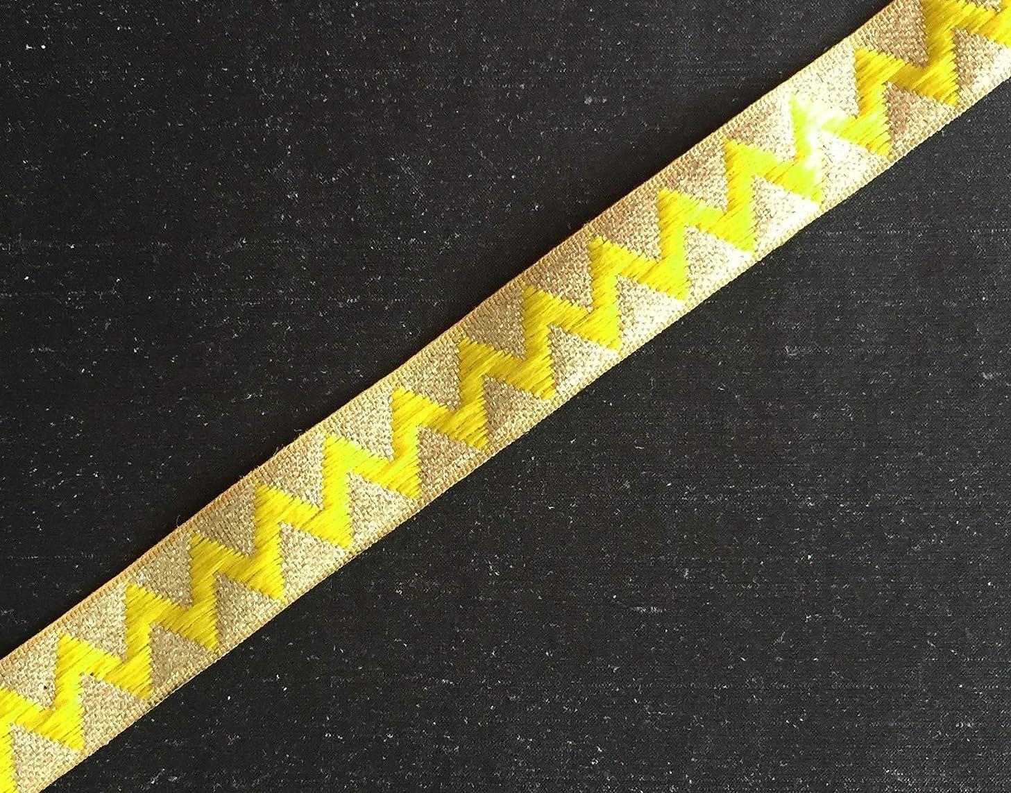 Yellow and Gold Chevron Brocade Style Sari Trim 3 Yards by Craftbot