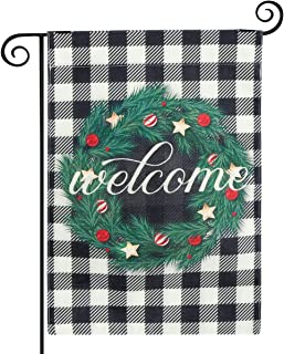 Bekith Fall Pine Wreath Welcome Garden Flag Vertical Double Sided - 12.5 x 18 Inch Buffalo Check Plaid Thick Weatherproof ...