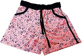 SDS Fashion Girl's/Women's Soft Cotton Pink Printed Shorts, Elastic Waist Half Pants