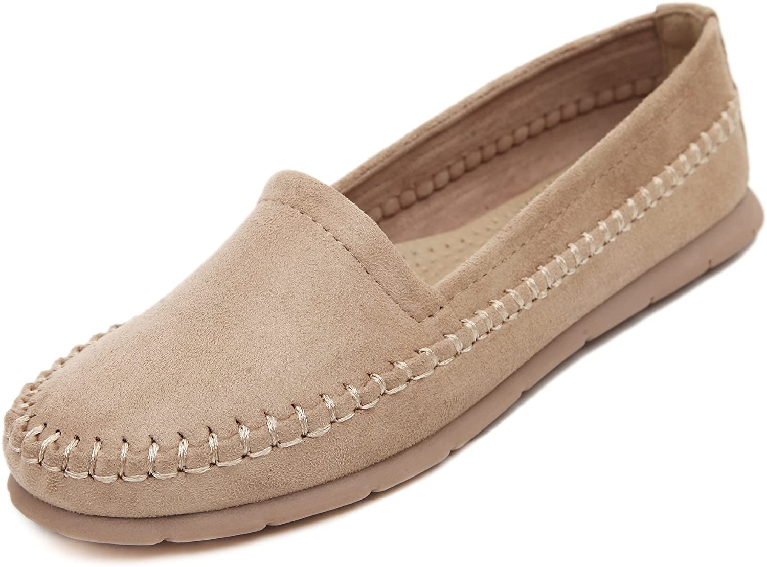 Adelina Women's Classical Solid Boat Loafer shoes Driving Moccasin Apricot 40 EU   8.5-9 US
