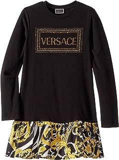 Versace Kids Girl's Long Sleeve Dress with Logo and Barocco Skirt (Big Kids) Black/Gold 12 (Big Kids)