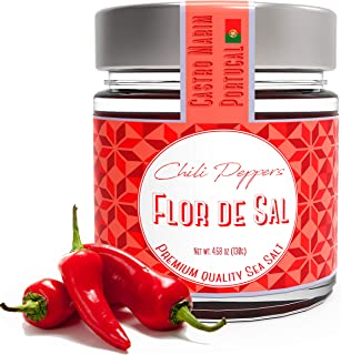 Fleur De Sel, Sea Salt with Chili Peppers from Portugal, Campo de Sal, 4.5 Oz