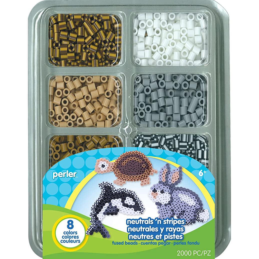 Perler Beads Neutrals And Stripes Assorted Fuse Beads Tray For Kids Crafts, 2000 pcs