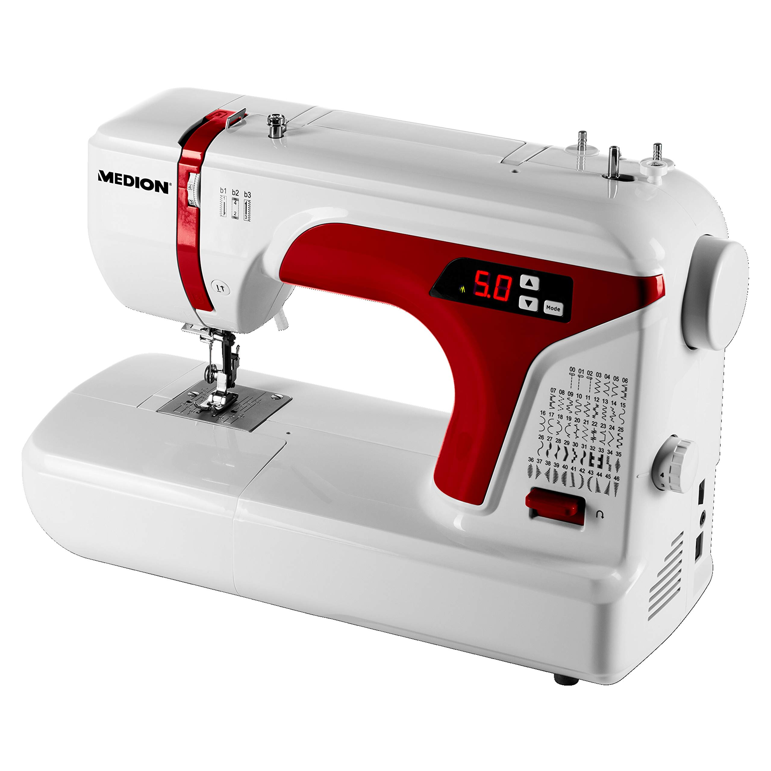 MEDION MD 16661 - Máquina de coser digital, ojal automático, 40 vatios, pantalla LED, 50 patrones de puntada ...