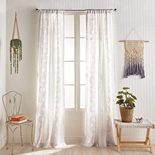"""Peri Home Cut Geo Sheer Cotton Back Tab Window Curtain Panel Pair, 84"""", Lilac Orchid Tint"""