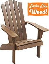 PolyTEAK Element Faux Wood Poly Adirondack Chair, Brown | Adult-Size, Weather Resistant, Made from Plastic