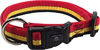 Hamilton 3/8-Inch Adjustable Dog Collar with Reflective Threads, 7 to 12-Inch, Red/Gold/Black
