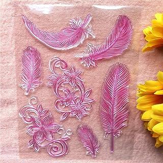 طوابع شفافة زهور ريش من جاواي لصنع البطاقات ودفتر القصاصات بنفسك طوابع شفافة من السيليكون لتزيين ألبوم الصور