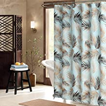DS BATH Nassau Leaves Fabric Shower Curtain,Polyester Blue Shower Curtains for Bathroom,Microfiber Bathroom Curtains,Printed Plants Waterproof Shower Curtain,72
