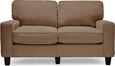 """Serta Palisades Upholstered Sofas for Living Room Modern Design Couch, Straight Arms, Soft Fabric Upholstery, Tool-Free Assembly, 61"""" Loveseat, Tan"""