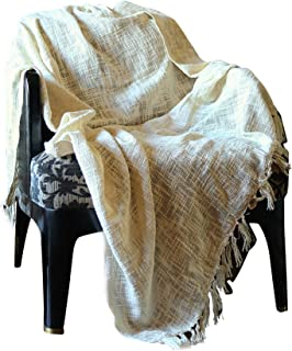 RAJRANG BRINGING RAJASTHAN TO YOU 100% Cotton Herringbone Throw Blanket - Modern Boho Living Room Decor Cozy Bed Throws Soft Hypoallergenic Luxury Blankets for Outdoor - 50 x 60 Inches (Ivory)