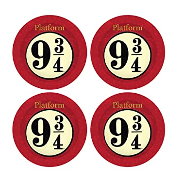 Silver Buffalo, 4-Piece Hogwarts Express Platform 9 3/4 Melamine Plate Set, 10-Inch, Red
