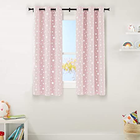 "Amazon Basics Kids Room Darkening Blackout Window Curtain Set with Grommets - 42"" x 63"", Blush Pink Stars"