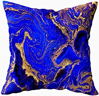 ROOLAYS Light Aqua Pillow Covers, Square Throw Pillowcase Covers 20X20Inch, Creative Background with Abstract Golden Waves Handmade Surface Liquid Paint Horizontal Artistic Both Sides Decor,Dark Blue