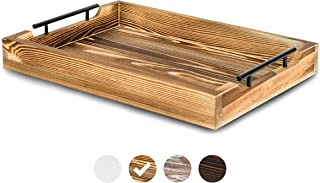 """Rustic Serving Tray by East World – 20"""" Decorative Tray, Torched Wood Tray, Food Tray, Tea Coffee Tray, Serving Trays for Parties, Wooden Serving Trays for Ottomans and Breakfast in Bed Tray Table!"""