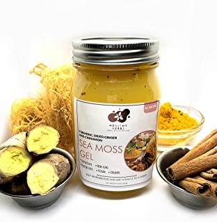 Sea Moss Gel (16 oz) with Raw Gold Seamoss, Turmeric, Dried Ginger and Cinnamon with All Natural Essential Vitamins, Miner...