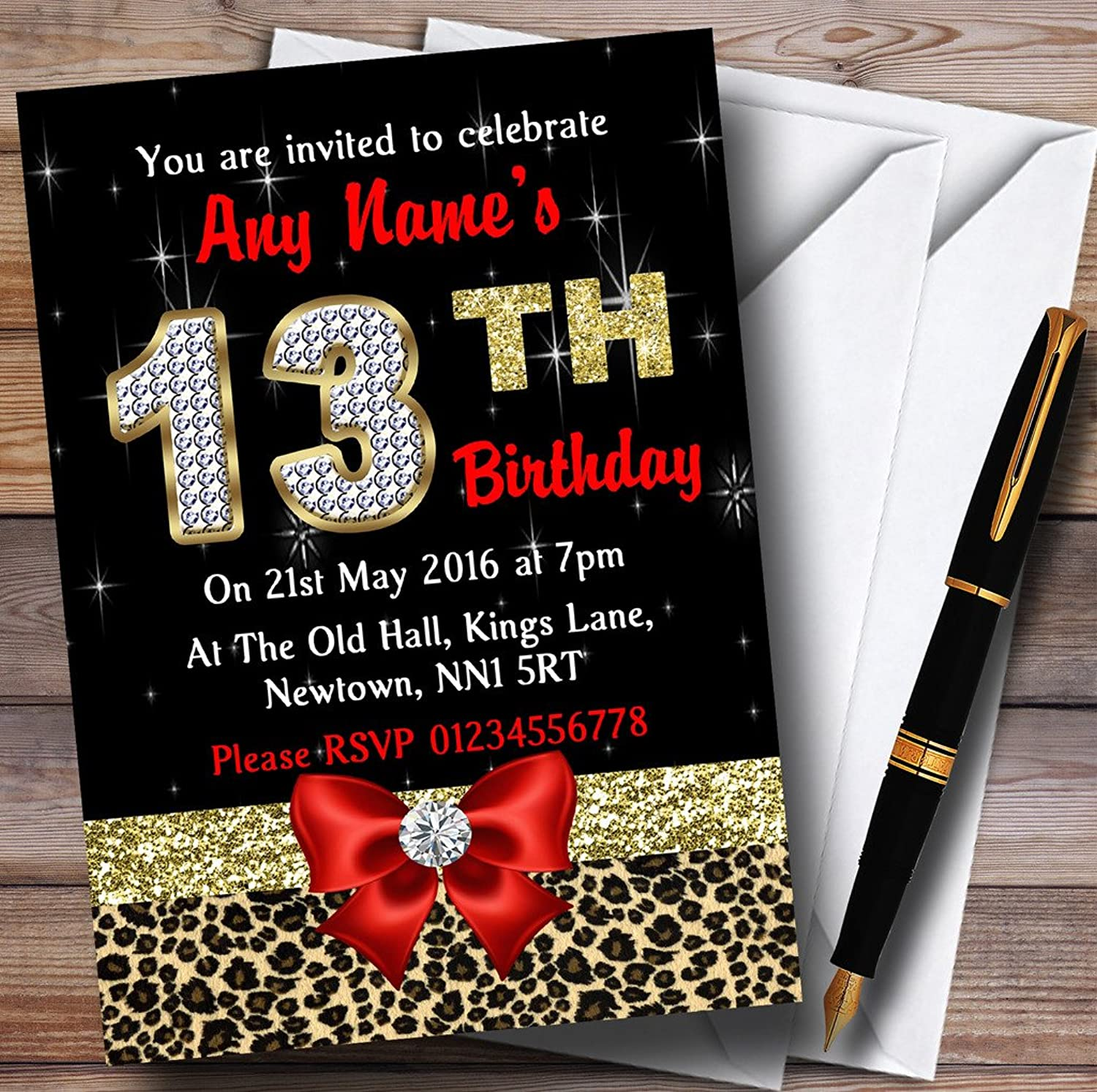 Red Diamond And Leopard Print 13Th Birthday Party Personalised Invitations   Invites & Envelopes