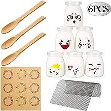 Yangbaga Vasos para Yogurtera, 6 Vasos de Repuesto Tarros Cristal Pequeños con Tapa Plastico para Preparar Yogures, Postres y Natillas para los Potitos de los Bebés 150ml