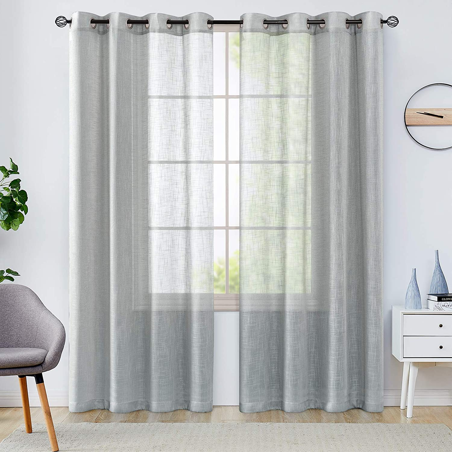 Lazzzy Grey Bombing Large special price !! free shipping Sheer Curtains 108 Inches Open Text Extra Weave Long