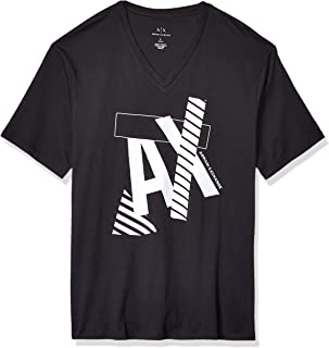 A|X Armani Exchange Men's Striped Ax Logo V Neck T-Shirt