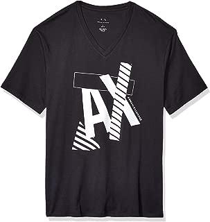 Men's Striped Ax Logo V Neck T-Shirt